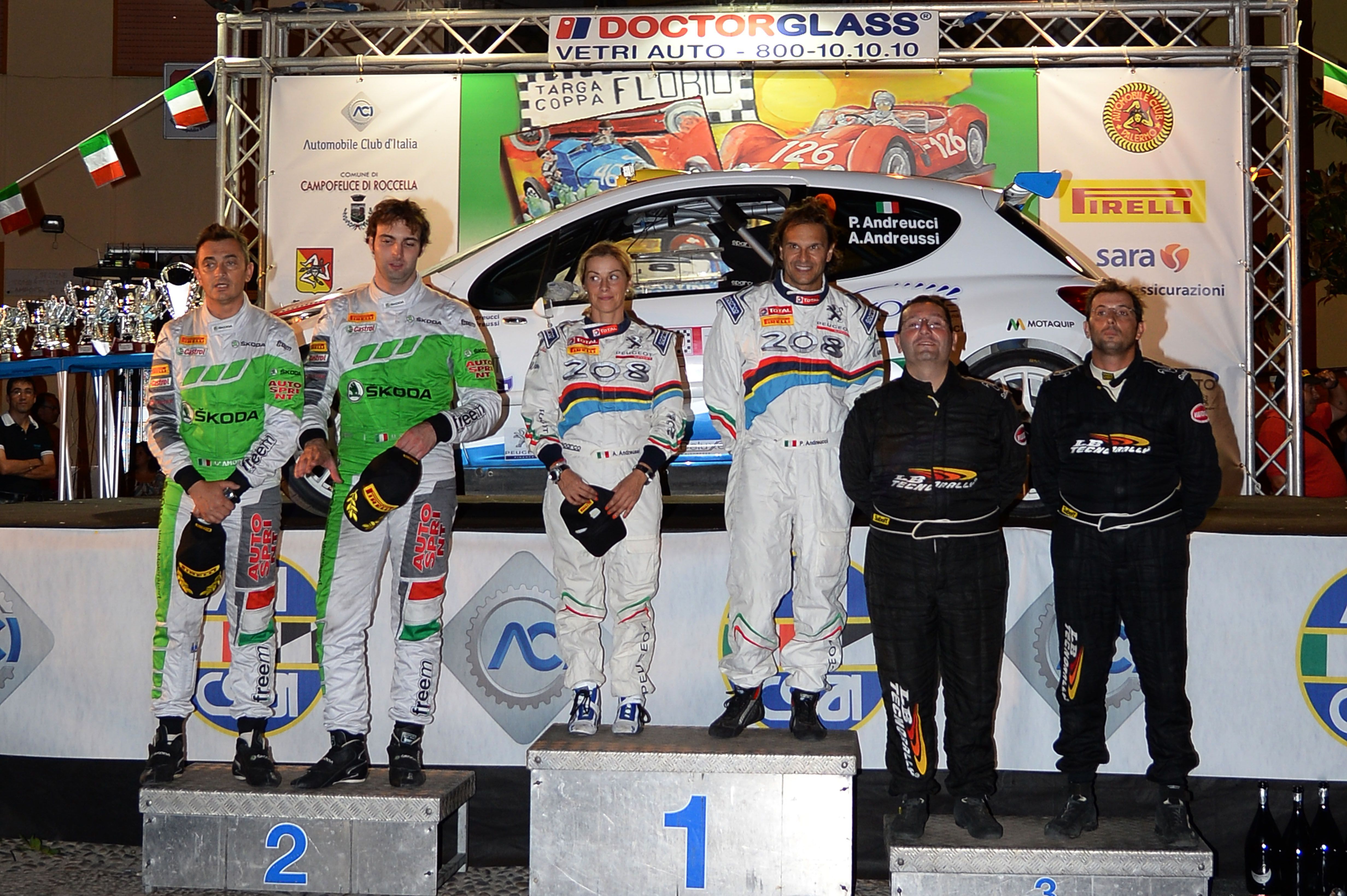 Podium: Paolo Andreucci, Anna Andreussi (Peugeot 207 S2000 S2000 #2, Racing Lions), race winner, Umberto Scandola, Guido D Amore (Skoda Fabia S2000 S2000 #1,Car Racing) 2nd position and , Salvatore Riolo, Massimiliano Alduina (Peugeot 207 S2000 S2000 #4, Ateneo) 3rd position