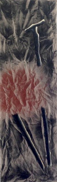 Enzo Cucchi  Senza titolo, 2013-2014  acrilico e olio su tela  212 x 60 cm  Courtesy FL Gallery