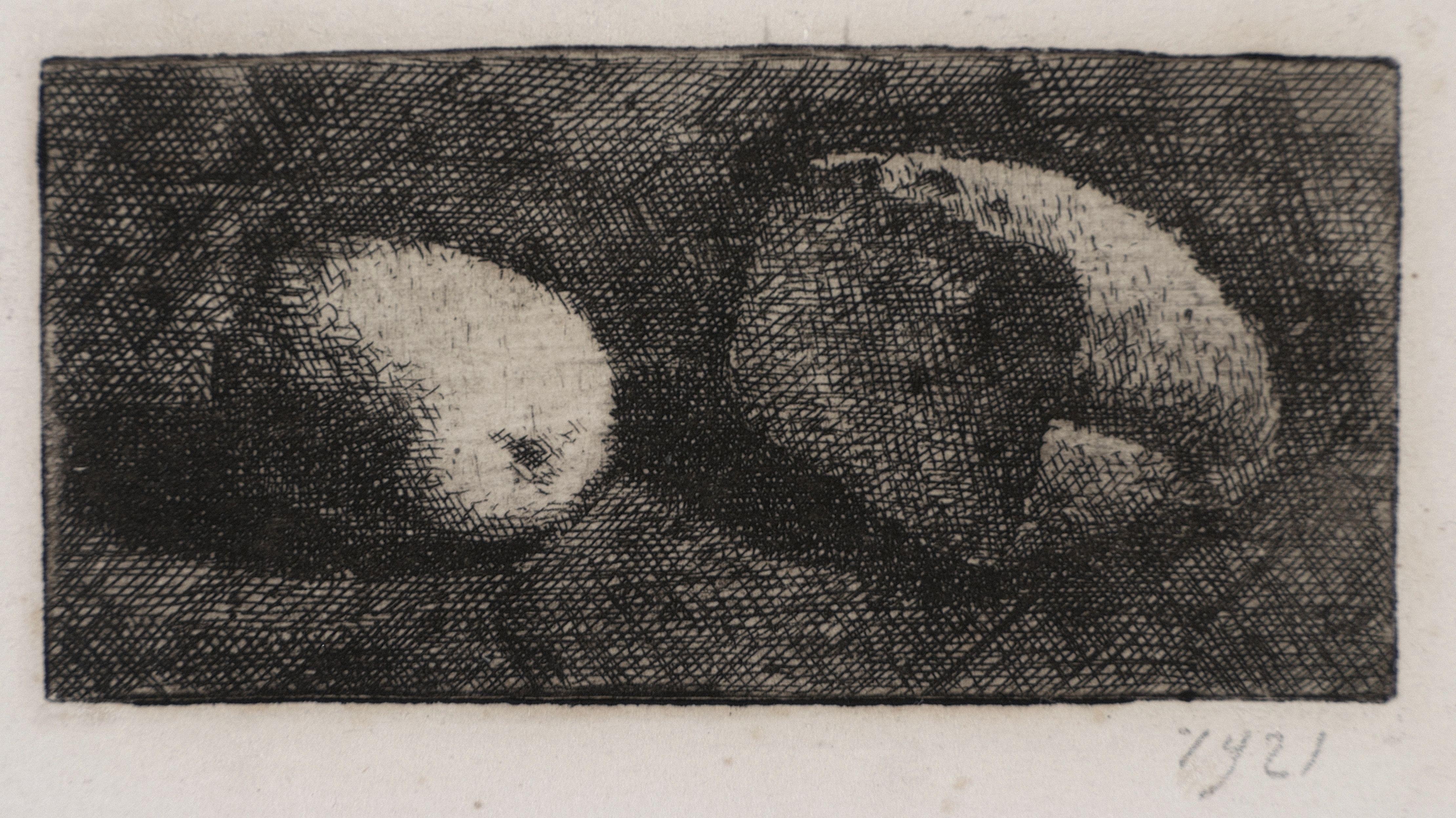 Giorgio Morandi  Natura morta con pane e limone, 1921 (V.inc.13)  acquaforte su rame